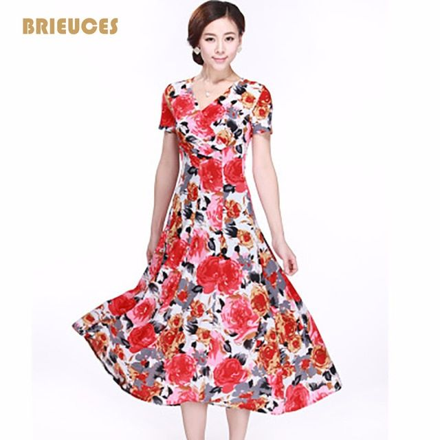New fashion summer Dress 2016 floral print plus size women dress clothing long section vestidos femininos casual dresses