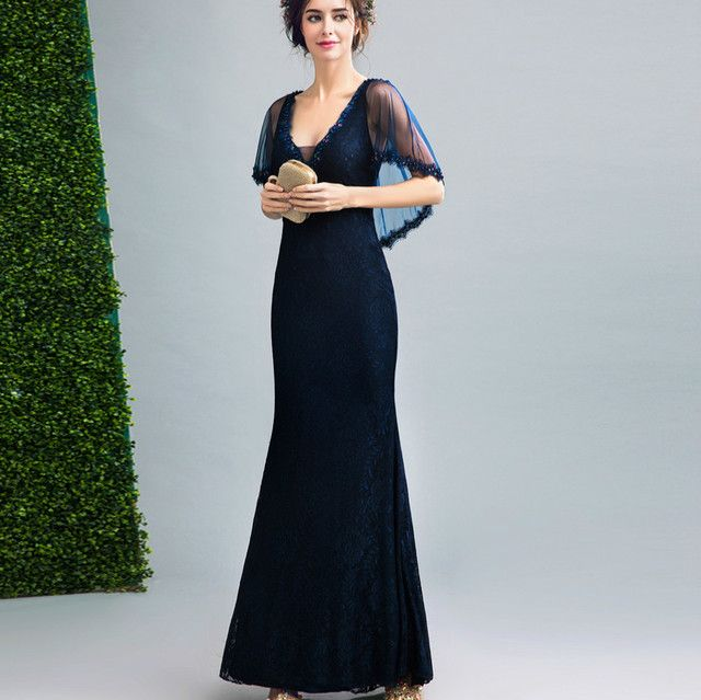 Sexy Summer Lace Dress Women Elegant Beading Deep V Collar Cloak Sleeve Party Dresses Female Long Fishtail Maxi Dress Vestidos