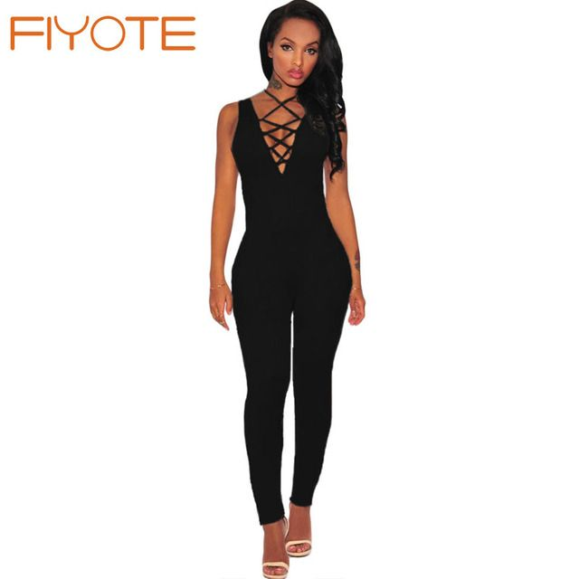 FIYOTE Sumemr Monos Largos 2016 Black Nude Orange Thick Milk Silk Lace Up Jumpsuit LC64091 Sexy One Piece party overalls