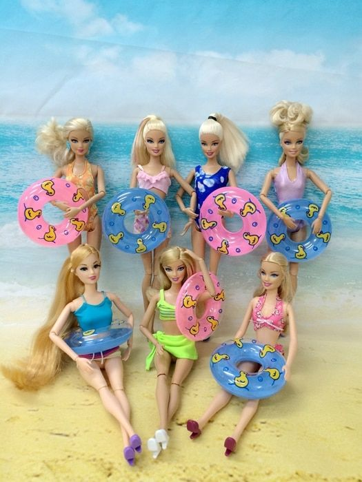 Lot 15 Item =5 Beach Bathing Clothes Swimsuit+5 Swimming Buoy Lifebelt Ring+5 Slippers For Barbie Doll Dress Swimwears Baby Toys
