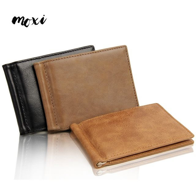 Moxi Men Money Clips Genuine Cow Leather Vintage Slim Fashion Credit Card Clip Money Male Small Solid Brand Wallet dollor price