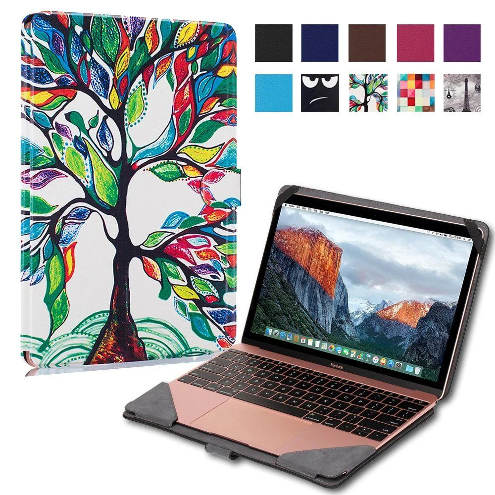 Printed Protective Shell Case Stand PU Leather Cover Case Magnet Cover for 2016 New MacBook 12