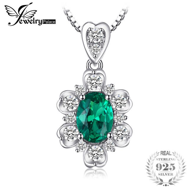 JewelryPalace Elegant 1.2ct Oval Created Emerald Necklace Pendant 925 Sterling Silver Charm Jewelry 45cm Box Chain