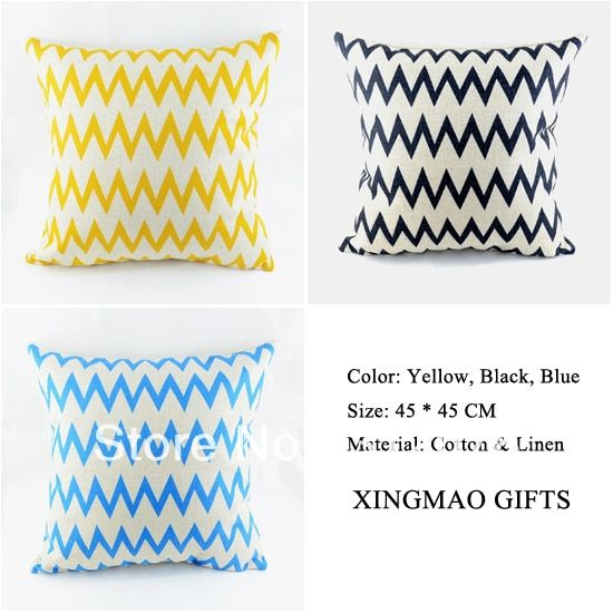 18*18 inch Home Decorative Vintage Yellow Black Blue Chevron Zig Zag Linen Throw Pillow Case Cushion Cover capa de almofada