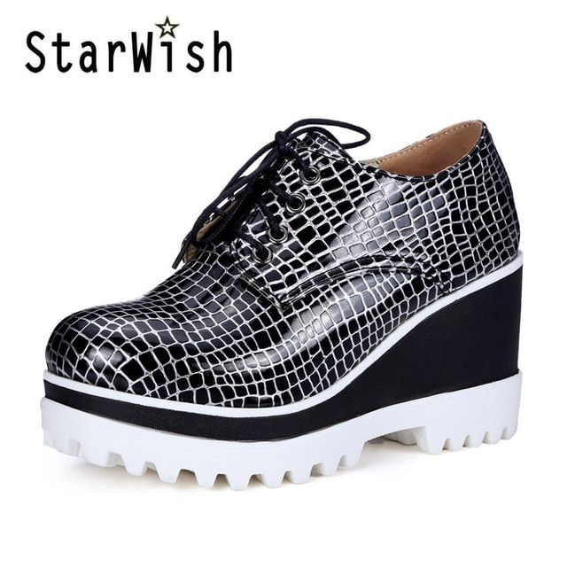 Women Creepers 2017 England Style Thick Bottom High Heels Lace up Platform Shoes Woman Patchwork Wedges Student Women's Pumps