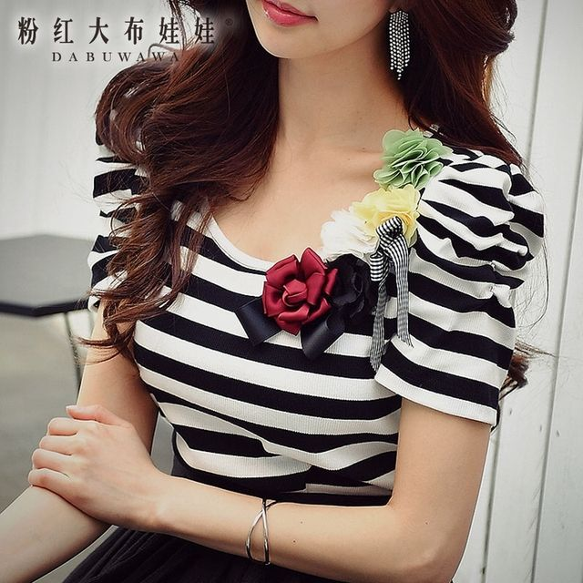 dabuwawa top women 2017 summer new black and white striped fashion casual short sleeved round neck t shirt pink doll