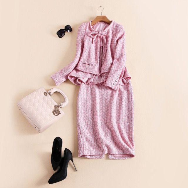 2016 women's spring autumn winter brand runway fashion high quality cute pink color knitted jacket cardigan + skirt sets Twinset