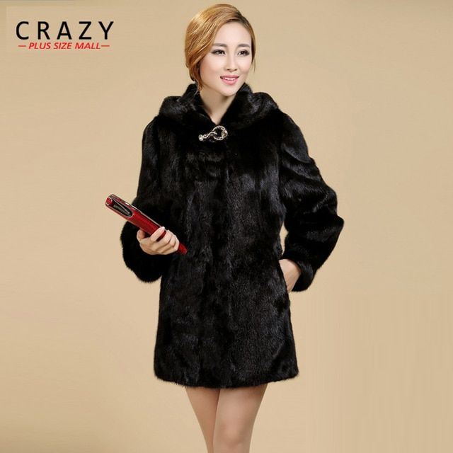 New 2018 Women Plus Size Women Clothing  5XL 4XL Fashion Middle Long Luxury Fake Mink Fur Coats Black White Faux Fur Coat