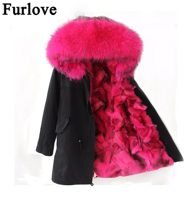 Furlove Pink Fox fur Parka,long style fashion winter fox fur jacket for lady fox fur outwear,mulitcolor army green women parka