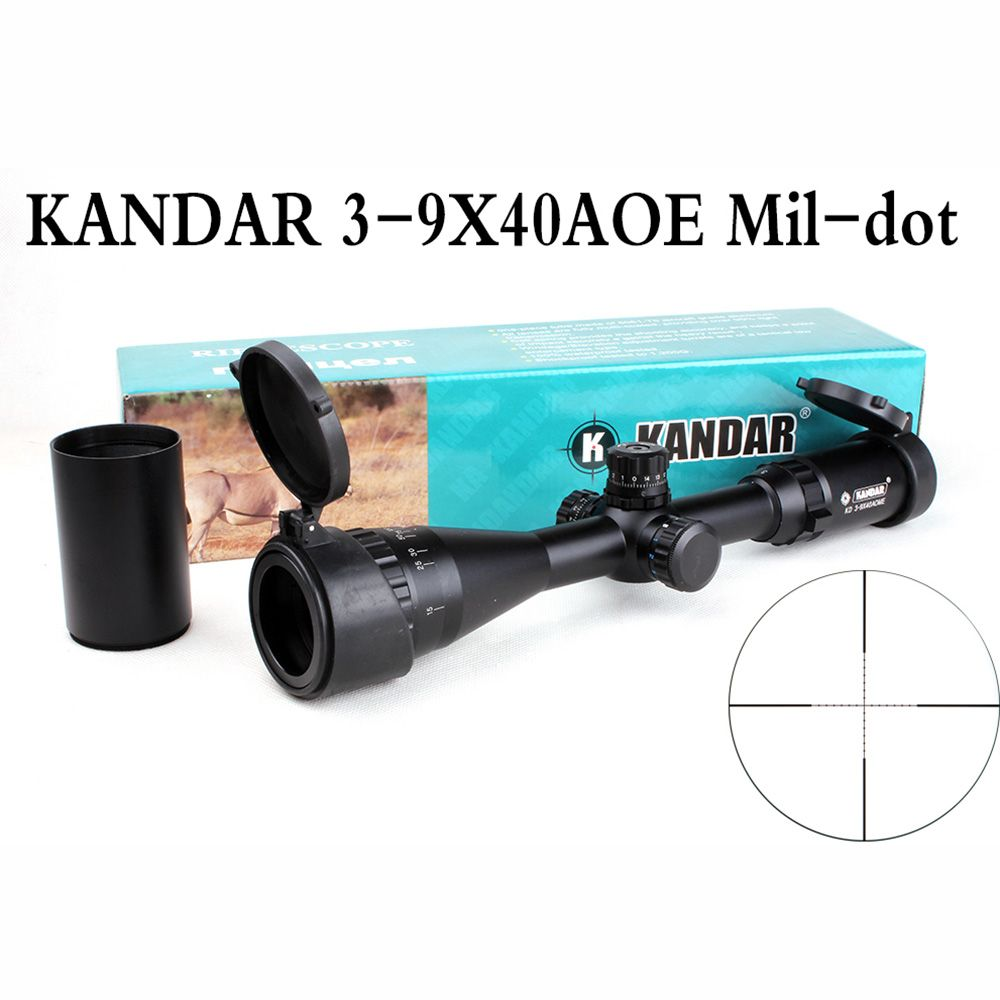 KANDAR Tactical Hunting Rifle Scope 3-9X40 AOE Mil-dot Reticle RifleScope Locking Resetting Optical Sight