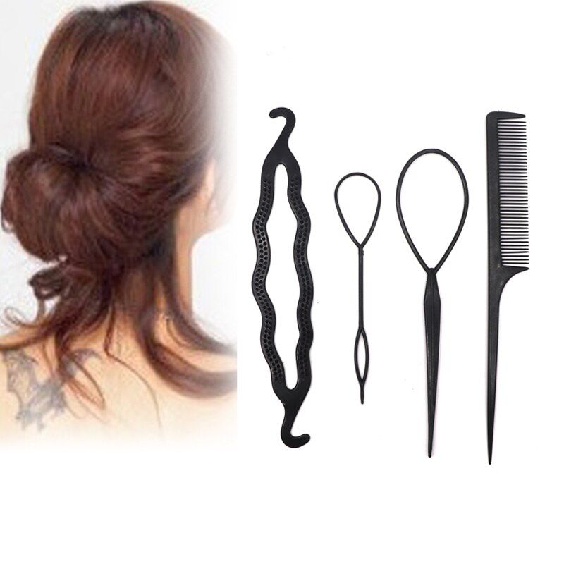 4Pcs/Set Hair Stick Styling Tools Pull Hair Pins Double Hook Plate Made Needle Comb Donut Big Hair Accessory Hairdresser Head