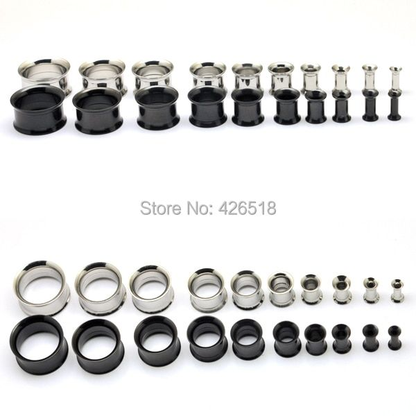 Free Shipping ,2pcs/lot body jewelry stainless steel double flared internally threaded flesh tunnel ear expander plug