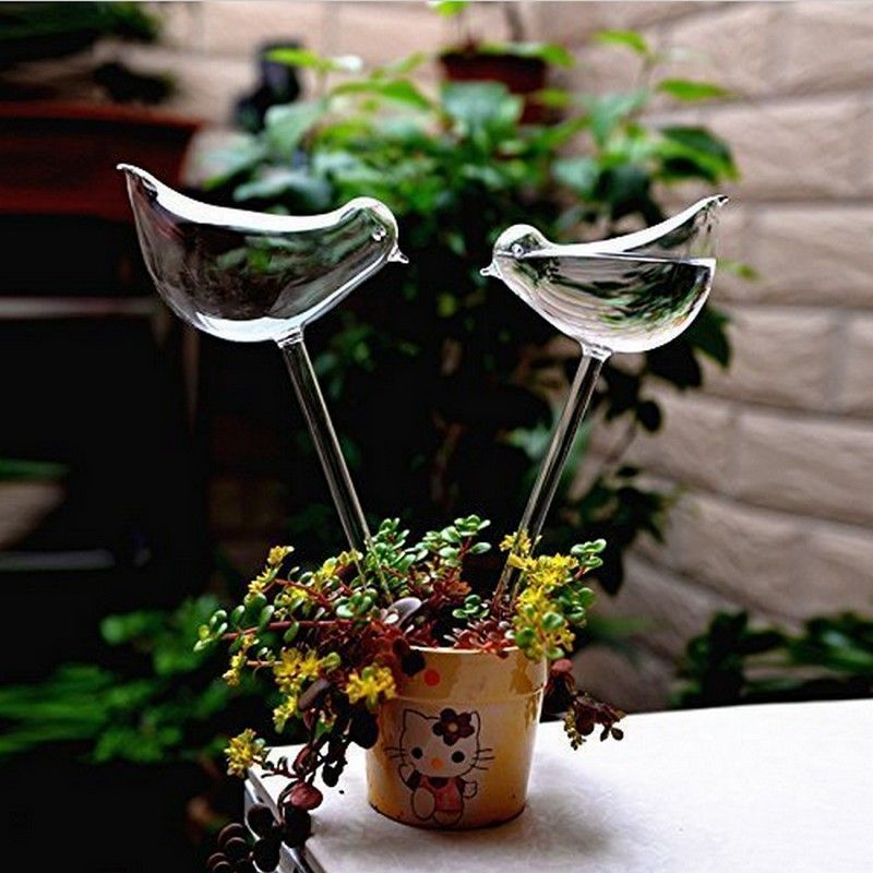 2pcs Birds Shape Flower kettle & Sprinkler Garden Glass Plant Pots Flowerpot Glass Indoor Garden Automatic Watering Pots Potted