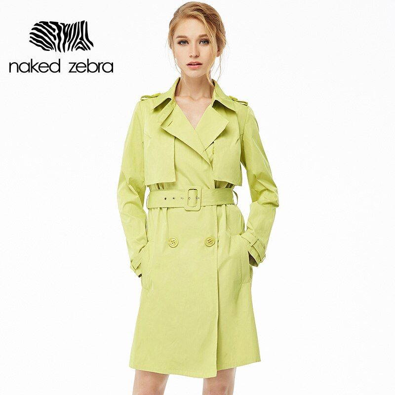 Naked Zebra 2016 Woman Clothing Solid Color Long-Sleeved Lady Lacing Long Windbreak Waist Slimming Women Pockets Trench Coats