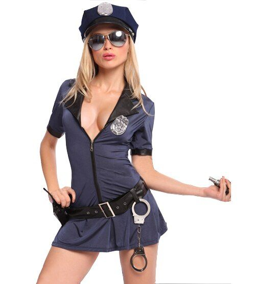 Sexy  Women Hottie Police Costume Dresses Cosplay Uniform Plus Size S-XXXL