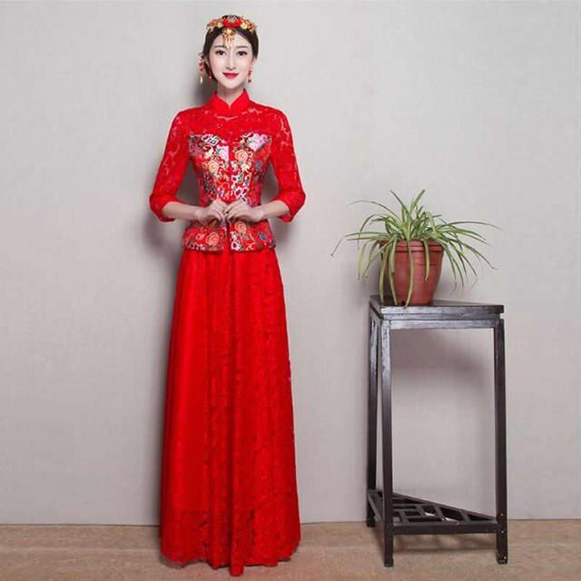 Traditional Chinese Style Bride Red Wedding Cheongsam Lace Long Qipao Dress Vestidos Chinos Plus Size Evening Gowns Dresses