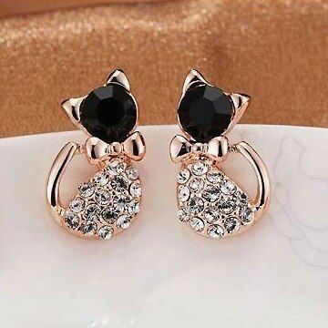 2016 Fashion Hot Selling Earrings Fashion Jewelry Lovely Rinestone Cat Stud Earrings E177 Nice Shopping
