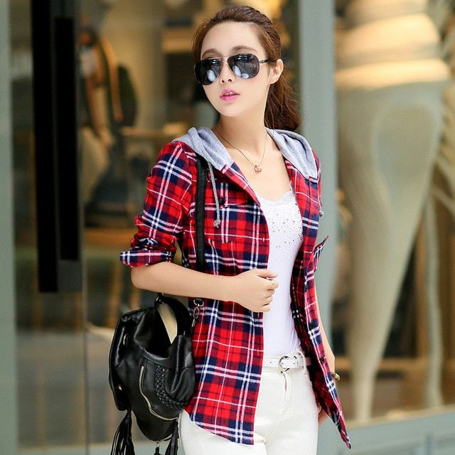 2017 New Casual Red Plaid Blouse Shirt Women Spring Long Sleeve Hooded Shirt Blouse Blusas 2017 Female Flannel Top Outerwear