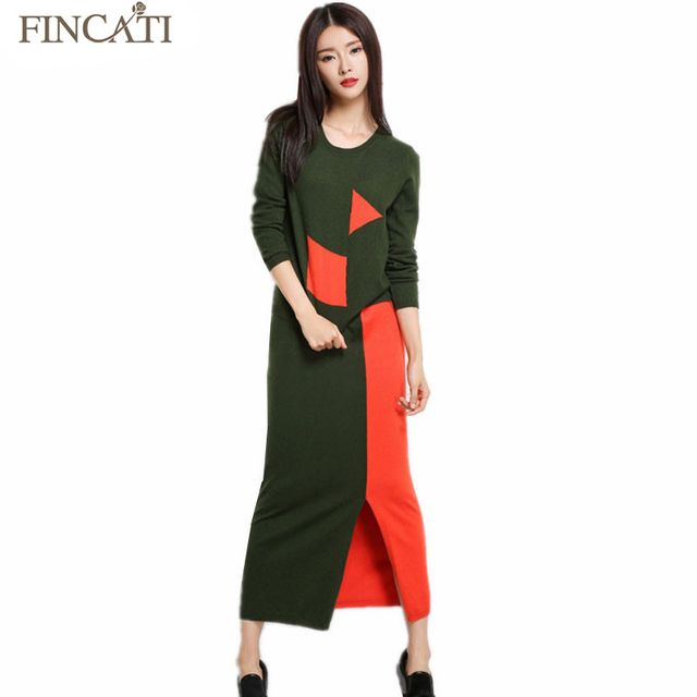 Women's 2017 Autumn Winter Patchwork Cashmere Blend Knitted Pullovers Sweater+Long Skirt Two Pieces Sets Casual Hem Split Dress