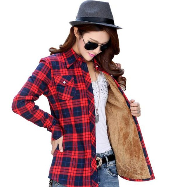 2018 Autumn Winter Ladies Female Casual Plus Thick Velvet Warm Long Sleeve Shirt Women Blouse Plaid Shirts Women Tops Blusas