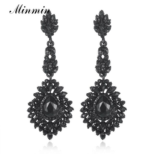 Minmin Crystal Teardrop Long Earrings Black Color Chandelier Hanging Vintage Earrings Bridal Wedding Jewelry for Women EH192