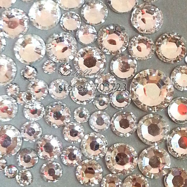 400 pcs 2mm - 6mm Resin Acrylic Clear Round Rhinestone Flatback Crystal Rhinestones Nail Art Decoration N01