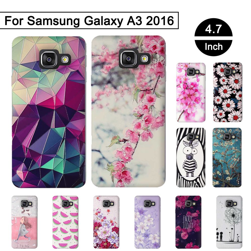 Soft Silicone Case for Samsung Galaxy A3 2016 A310 A310F SM-A310f Case 3D Relief Back Phone Cover for Samsung A3 2016 TPU Shells