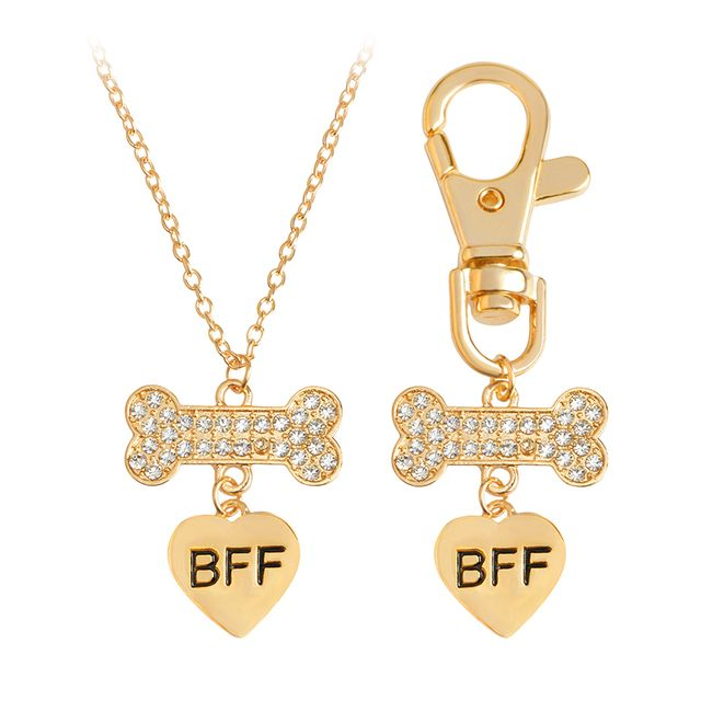 2pcs/set Charm Gold Silver Heart Dog Bone Pendant Necklace & Dog Collar Rhinestones Pendants For BFF Dog Pet Jewelry Gift