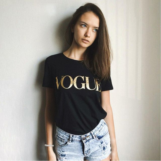 2017 Suumer Women T Shirt  VOGUE Letter Printing Brand T-shirt Casual Loose  Short Sleeve O Neck Female Tops camisetas mujer