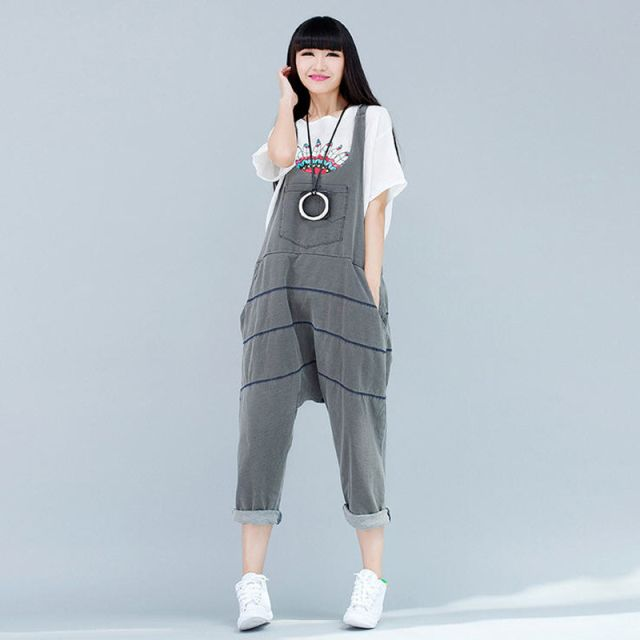 2016 Spring Summer Women Casual Striped Plus Size Loose Denim Rompers Straps Bib Overalls Harem Jumpsuit Grey/Blue/Purple W527