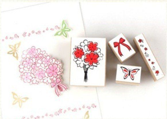 4 Pcs/set Sweet Flower Bow Stamp Set Wooden Clear Stamps Gift Set DIY Funny Work Rubber Stamp Office School Supplies