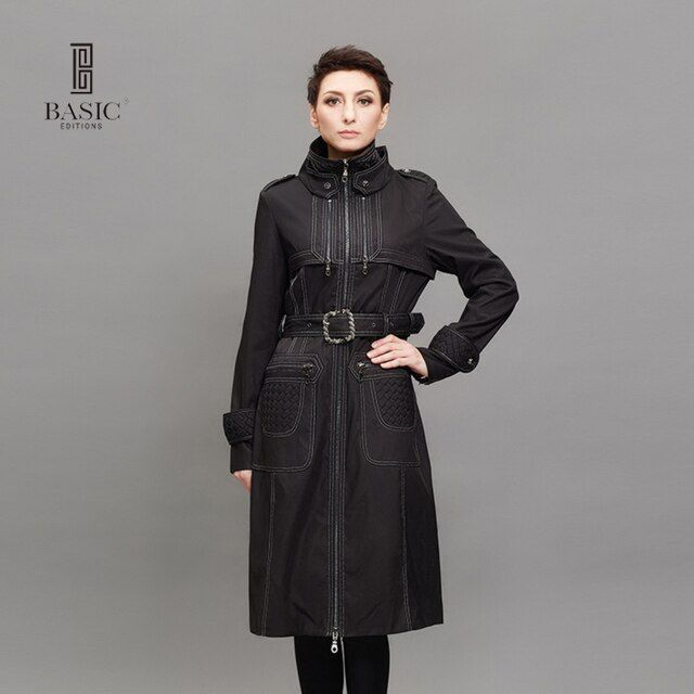 BASIC Fashion Womens Trench Coats Spring Autumn Slim Turtleneck Zipper Long Black Coat With Belt Womens Windbreaker JCF07001-002