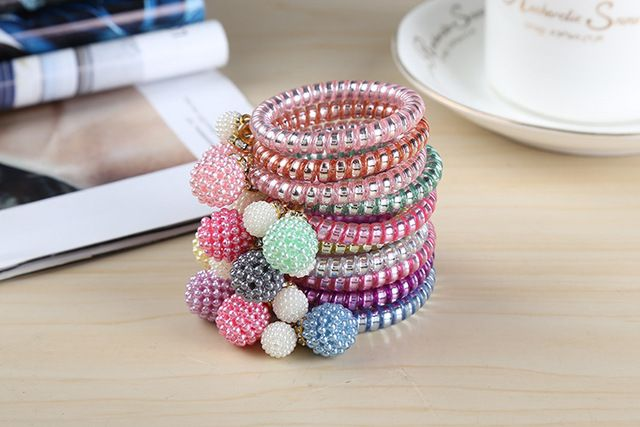 Wholesale 50 Pcs/Lot 2016 New Telephone Line Bobble Rubber Charms Colorful Pearl Ball Elastic Hair Bands Girl's Hair Scrunchy