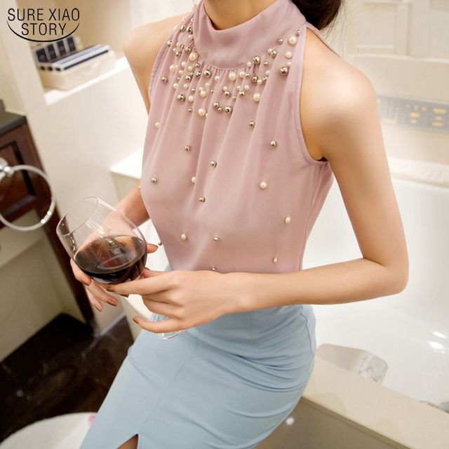 2017 New Women Beading Shirt Korean Fashion Sleeveless Women Solid Color Chiffon Blouse Shirt Women Top S M L XL835I 42