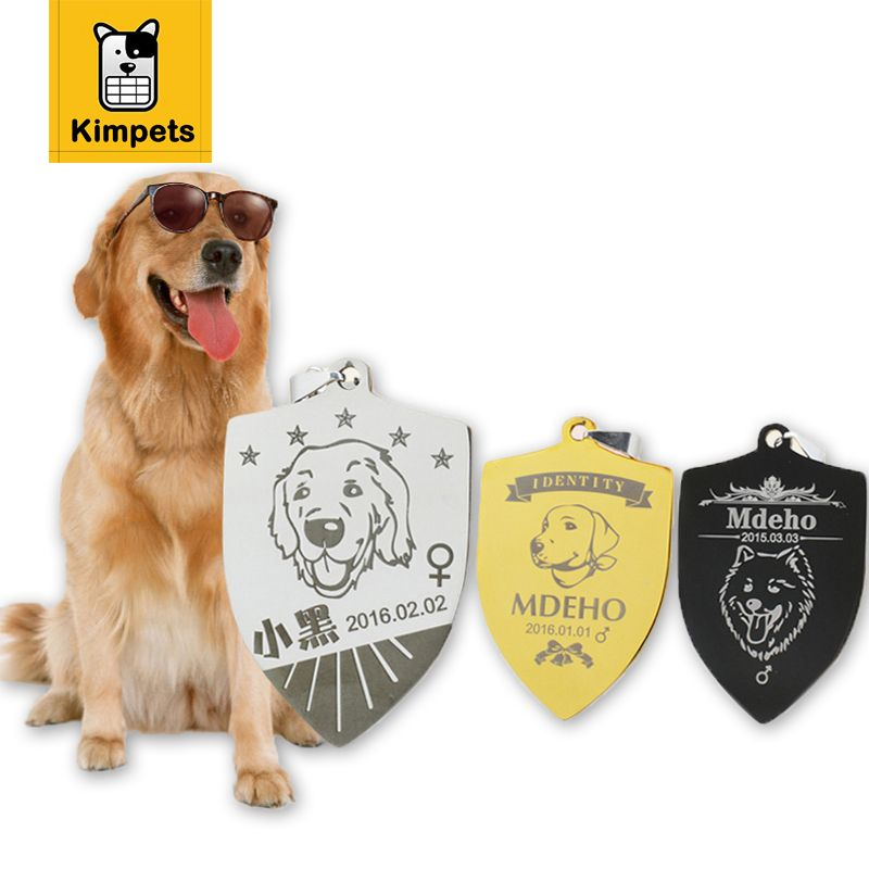 2017 New Free Engraving Personalized Pet Tag Identification Customized Shield Type Dog Tag Name Phone Any Text for Pet ID Tag