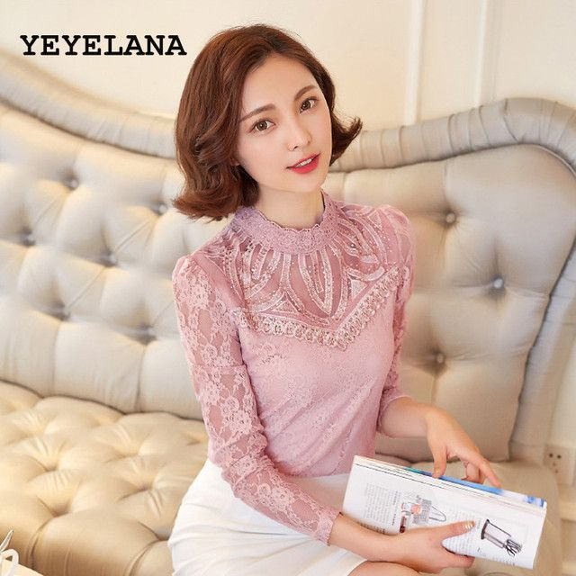YEYELANA Women blouse 2018 Spring autumn full sleeve hollow out casual fashion lace blouse new arrival A024