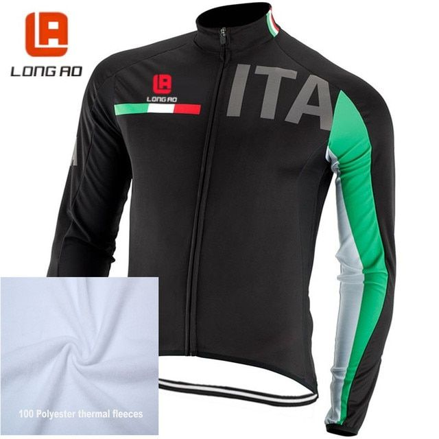 Italy national cycling team winter thermal fleece cycling long sleeve tops Italia bicycle clothing tops