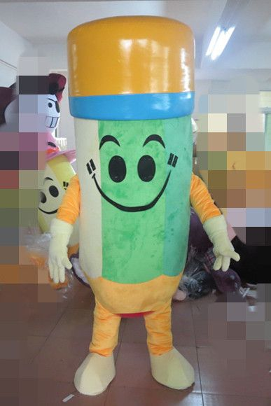 Green Lead Pencil Wax Chalk Lip Rouge Crayon Pastels Oiled Lipstick Mascot Costume Yellow Hairs Green Cone Hat