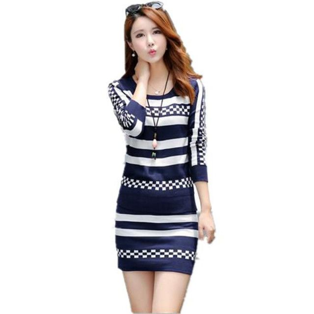 2016 New Autumn Sweater Dress Suit Women Striped Knitted Pullover Sweater Suits Slim Package Hip A-line Skirt 2 Pieces Set A1490