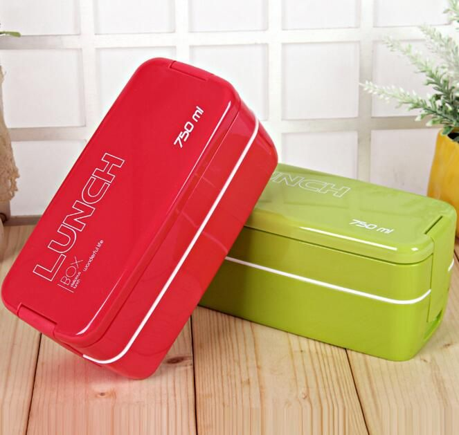 750ml Double Layers Portable Microwave Lunch Box Bento Boxes Candy Color Food Containers Dinnerware Lunchbox Eco-Friendly