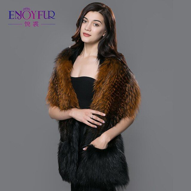 ENJOYFUR women fur shawl for winter real fox fur scarves with pocket thick warm fur shawl 2017 new sale high-end fur scarves