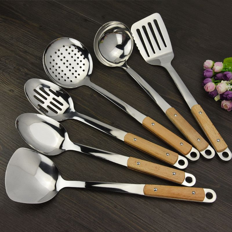 Keythemelife 1Pcs Stainless Steel Cookware Sets Kitchenware Wooden Handle Spatula Household Kitchen Tools Utensils