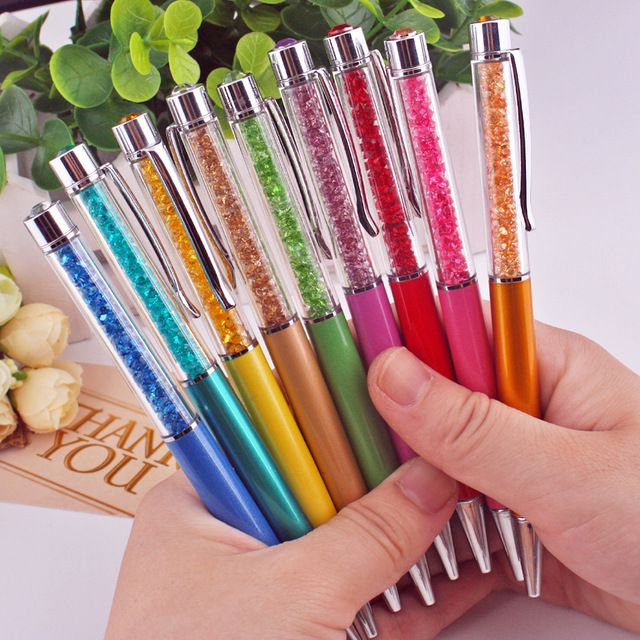 18 Colors Crystal Ballpoint Pen Fashion Creative Stylus  for Writing Stationery Office & School Pen Ballpen Black Blue 1.0mm