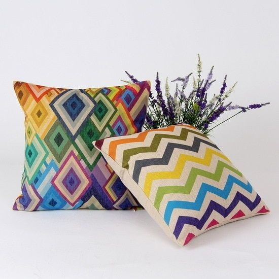 Home  Rainbow Chevron Geometry  Pillow Case Linen Pillow Cover capa de almofada 45*45 cm