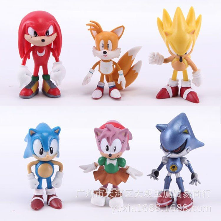 6pcs/set Toy my Collection Little Cute sonic PVC Unicorn Poni Toys For Children Birthday Holiday Christmas doll Gift