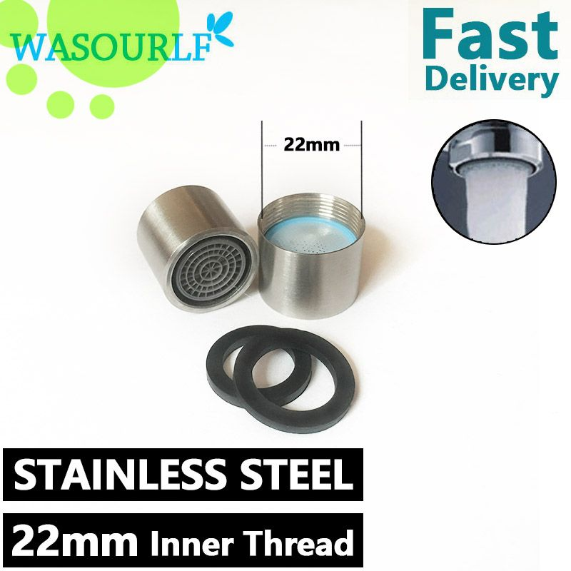 WASOURLF 2 Pieces stainless steel M22*1 female thread inner thread 2L water saving aerator for faucet tap Stainless plastic core