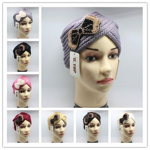 new fashion beaded bowknot jeweled knitted turban hair cap knit headwrap head wrap