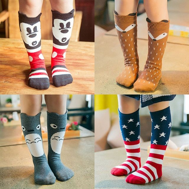 New Fashion Children Socks Cotton Goods Children Socks Lovely Cartoon Creative Tide Baby Cotton Baby Tube Socks