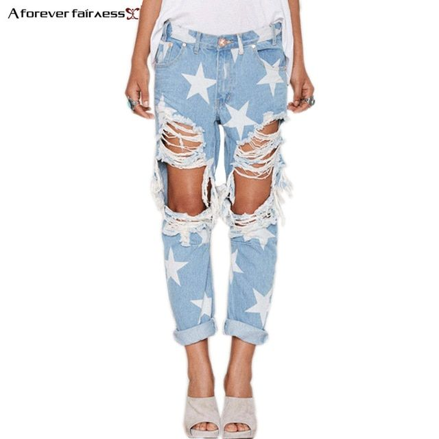 A Forever 2018 Hot Street Fashion Women Jeans Casual Ladies Hole Jeans Stars Printing Straight Denim Ripped Jeans For Women 1005