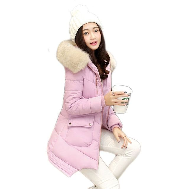 CP Brand 2016 New Winter Padded Jacket Women Long Solid Slim Hooded Cotton Coat with Fur Collar Thick Warm Outwear Female Clothe